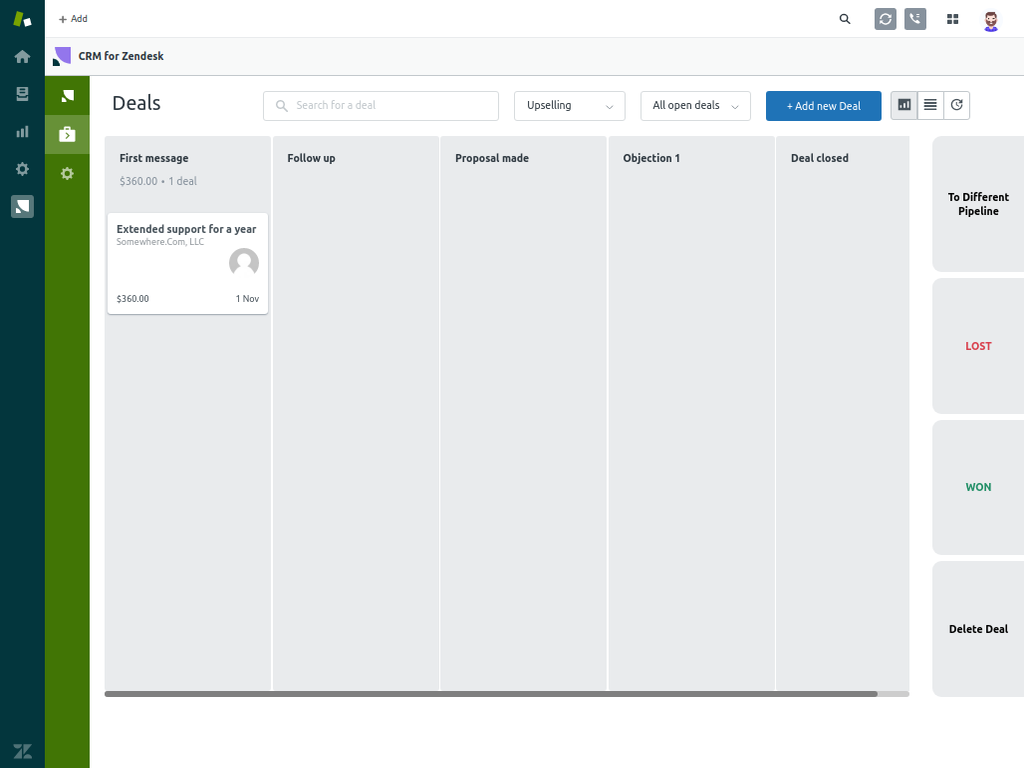 Pipeline in CRM and Deals for Zendesk